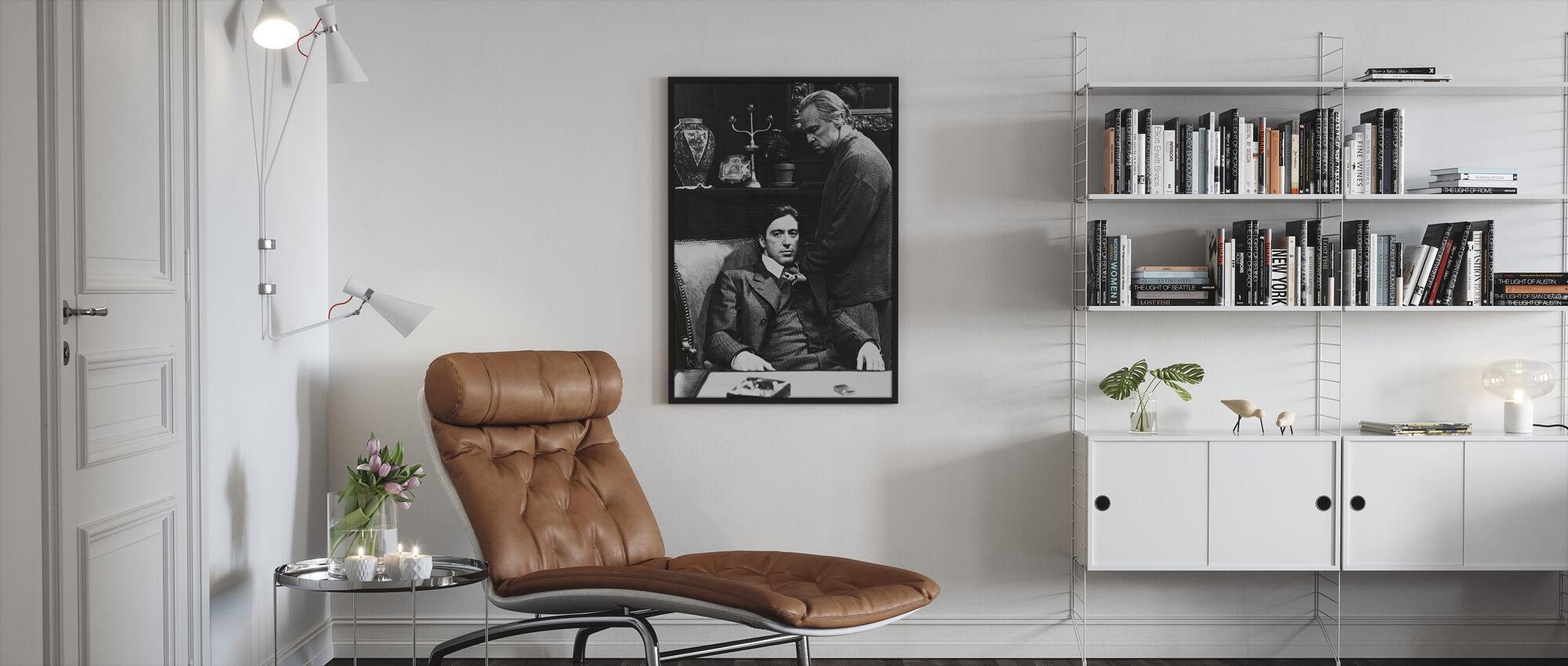 Godfather - Al Pacino og Marlon Brando - Indrammet billede - Stue