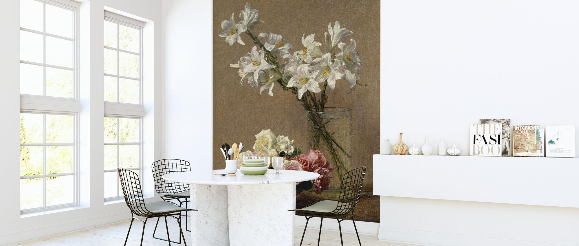 Roses and Lilies - Henri Fantin-Latour - Wallpaper - Kitchen
