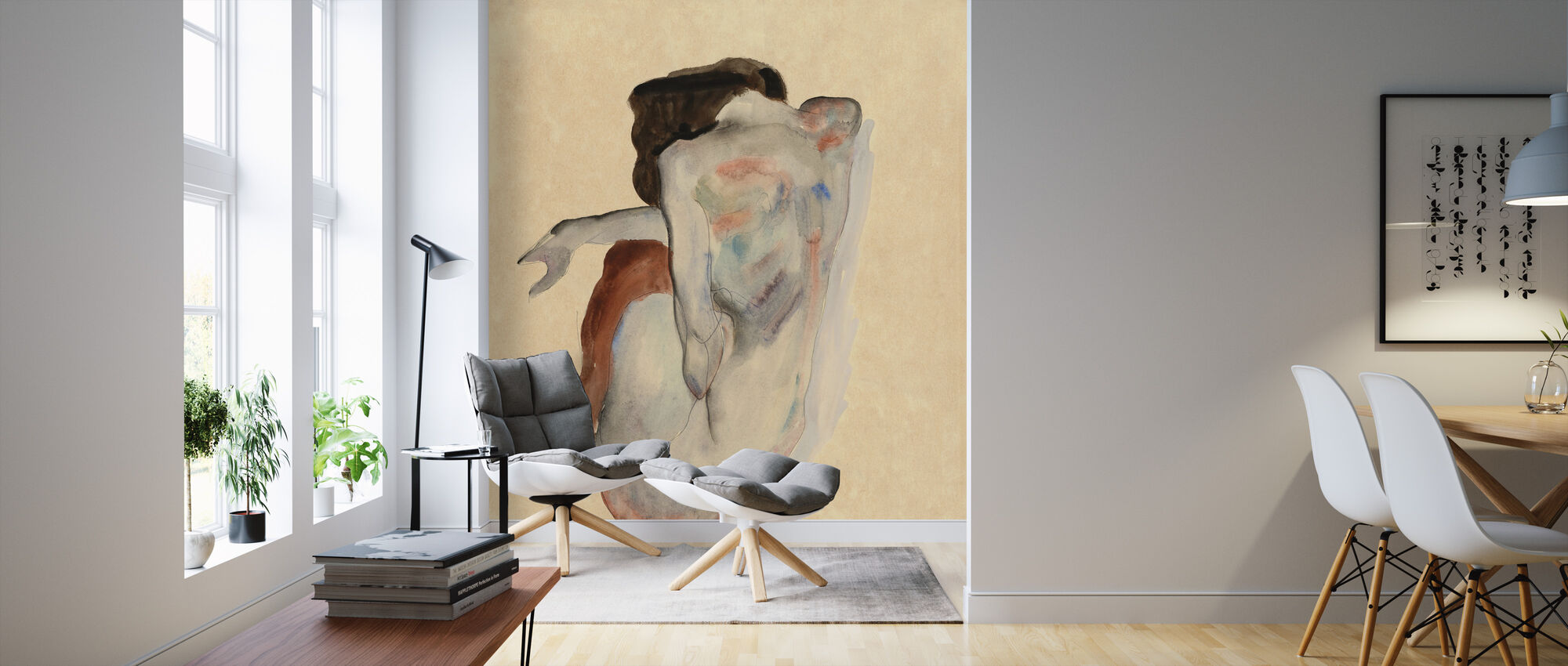 Crouching Nude - Egon Schiele - Wallpaper - Living Room