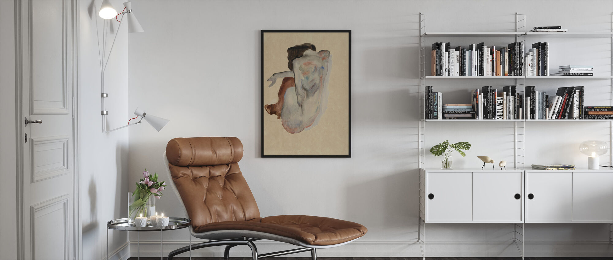 Crouching Nude - Egon Schiele - Framed print - Living Room