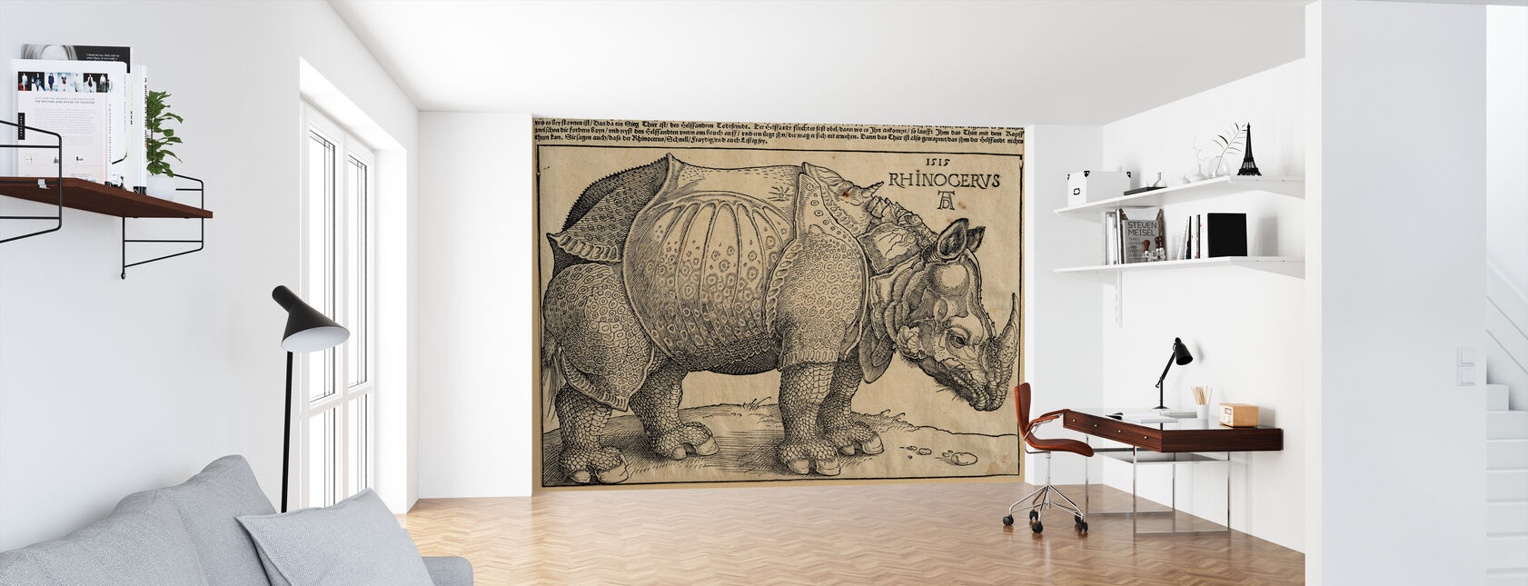 Rhinoceros - Abrecht Durer - Wallpaper - Office