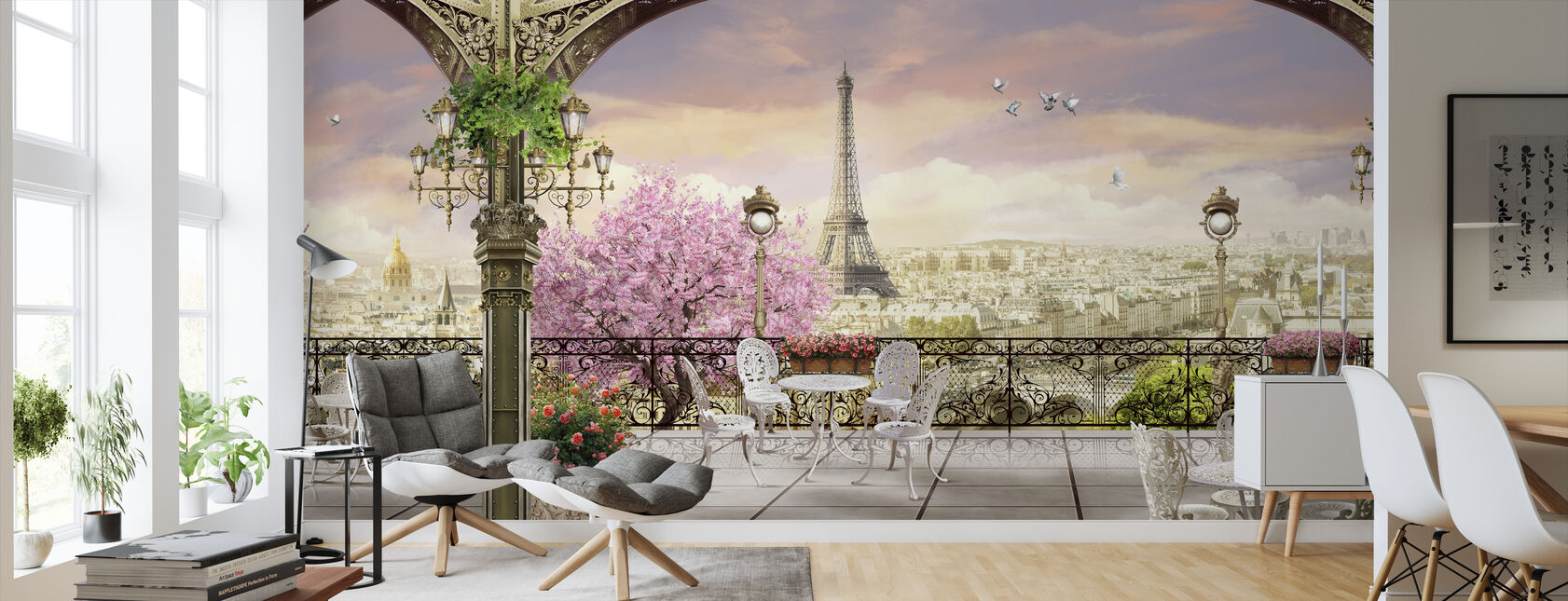 Paris Terrace - Wallpaper - Living Room
