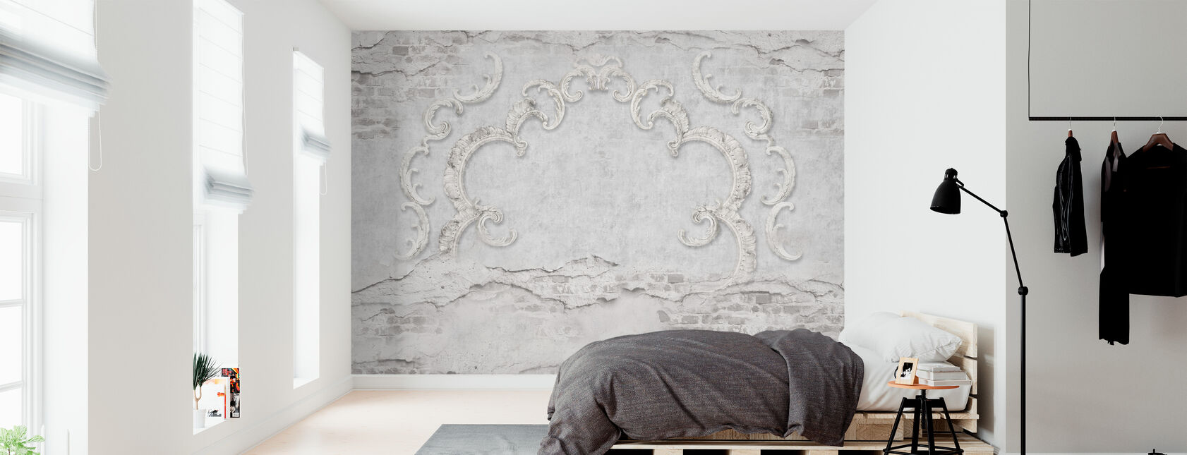 Cracked Brick wall with Stucco - Wallpaper - Bedroom