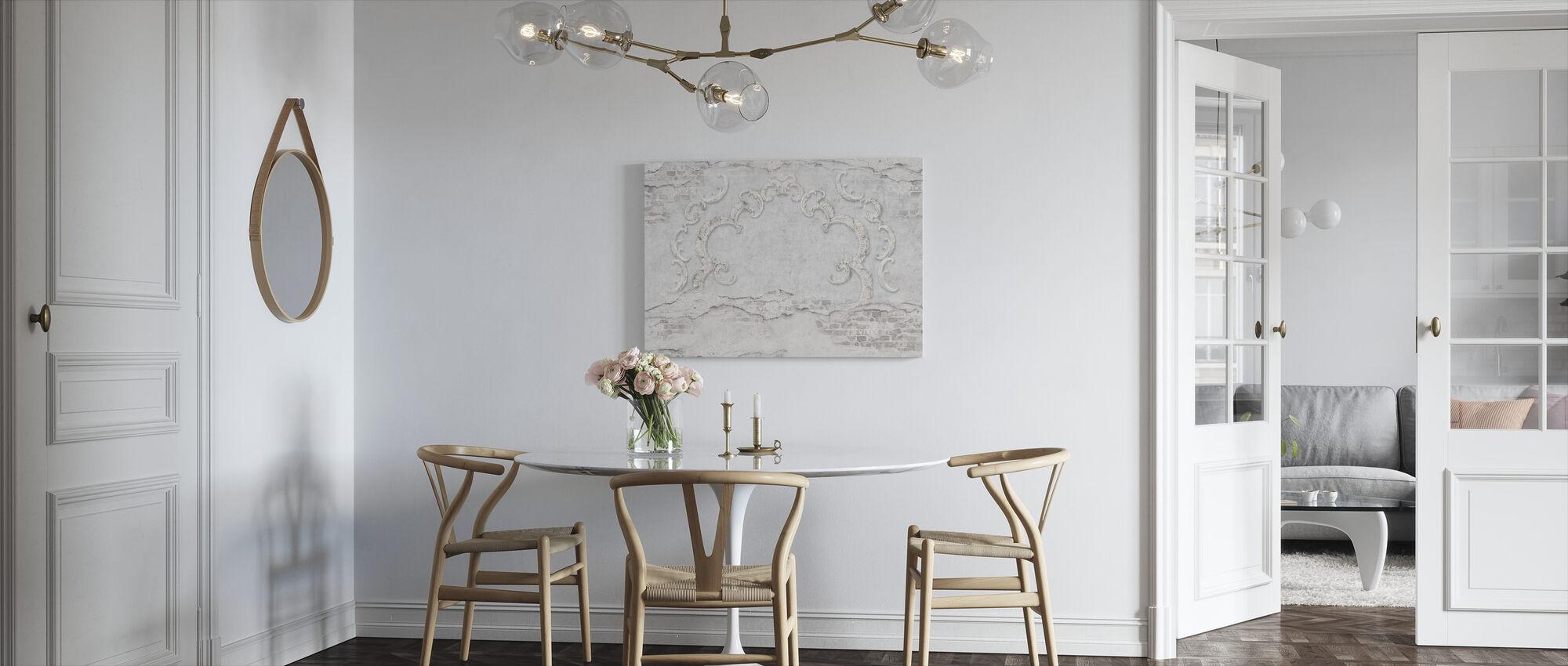 Gebarsten bakstenen muur met stucwerk - Canvas print - Keuken