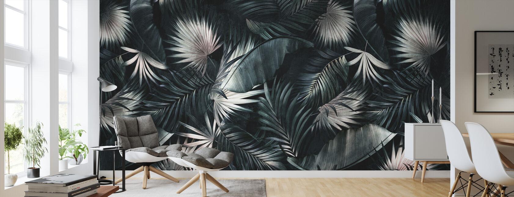 Tropische bladeren - Donker - Behang - Woonkamer