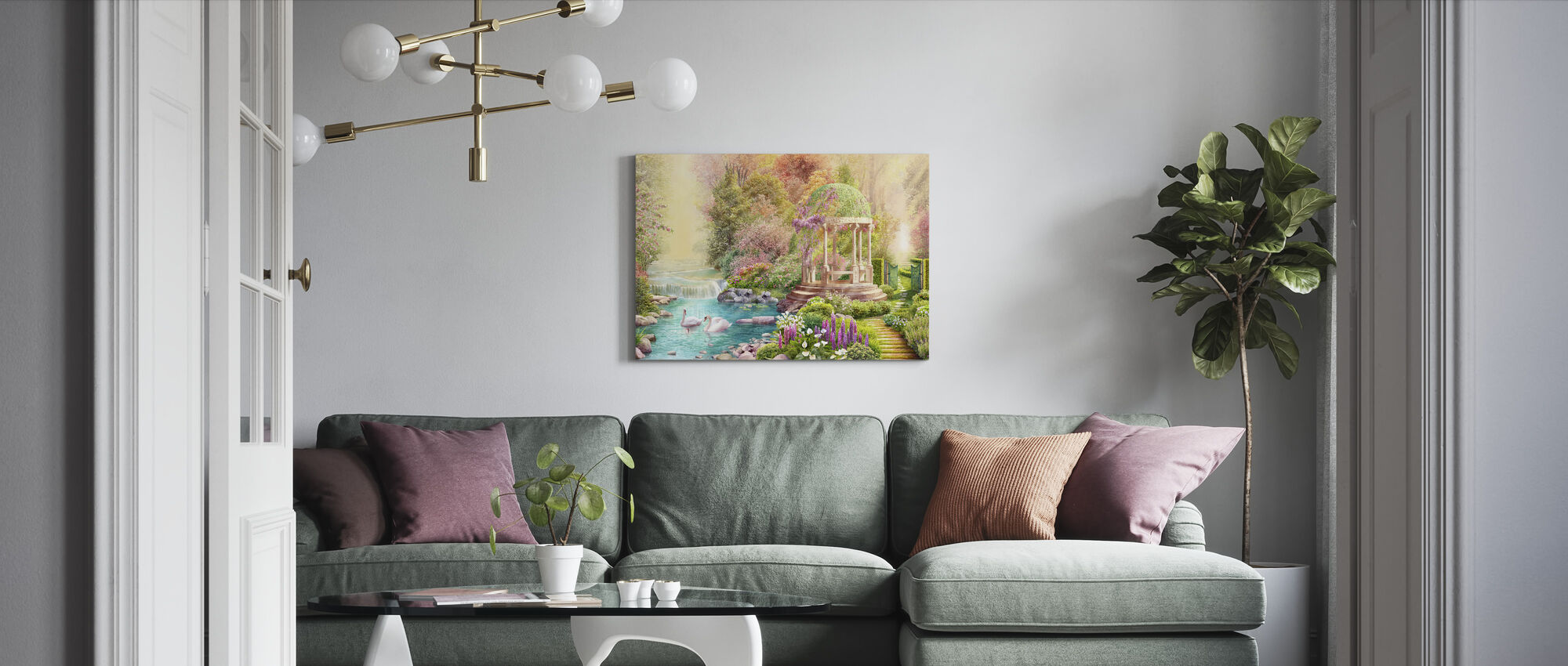 Swans Paradise - Canvas print - Living Room