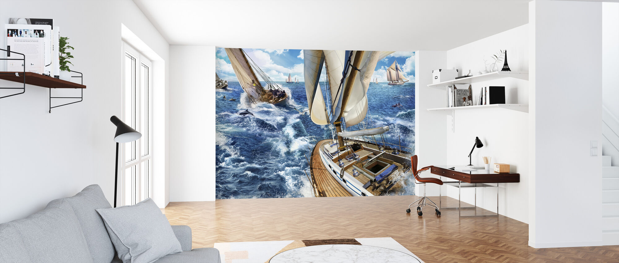 Sailing with Dolphins - Wallpaper - Office