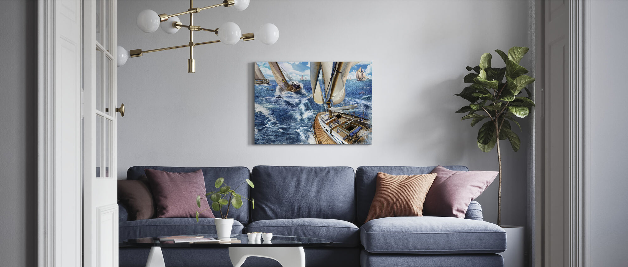 Sailing with Dolphins - Canvas print - Living Room