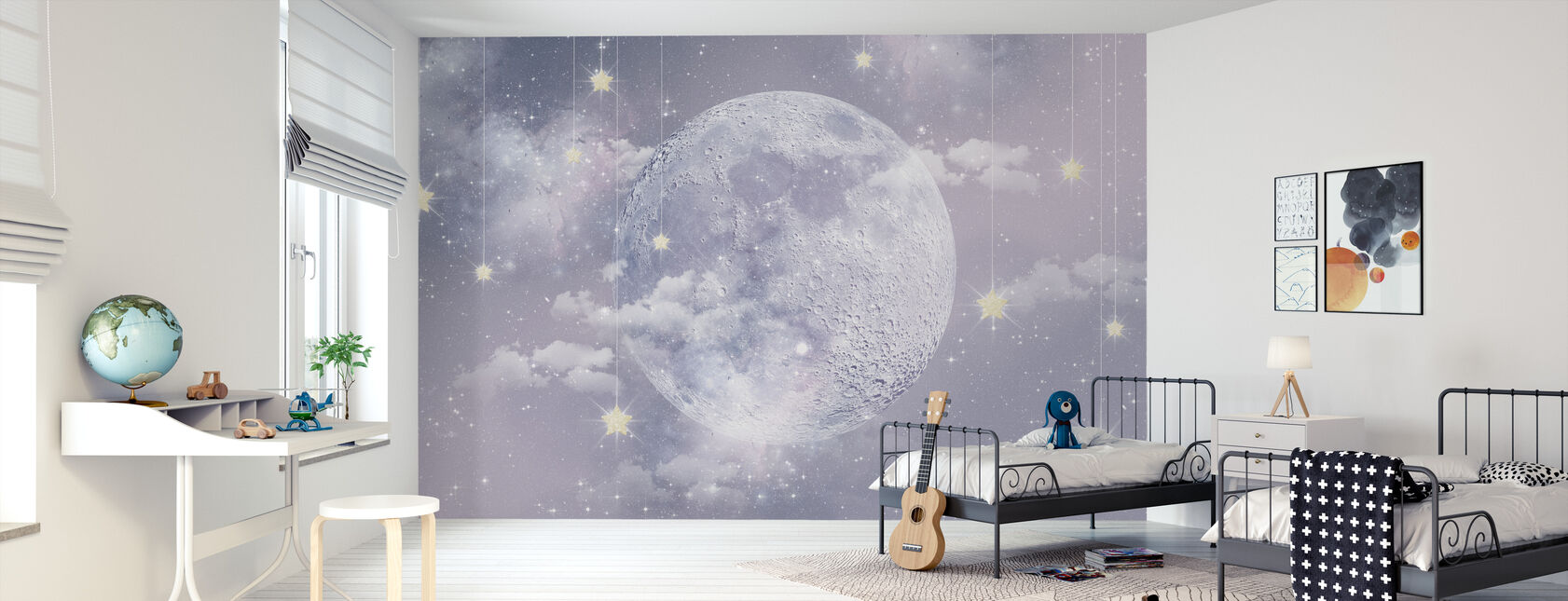 Moon with stars - Wallpaper - Kids Room