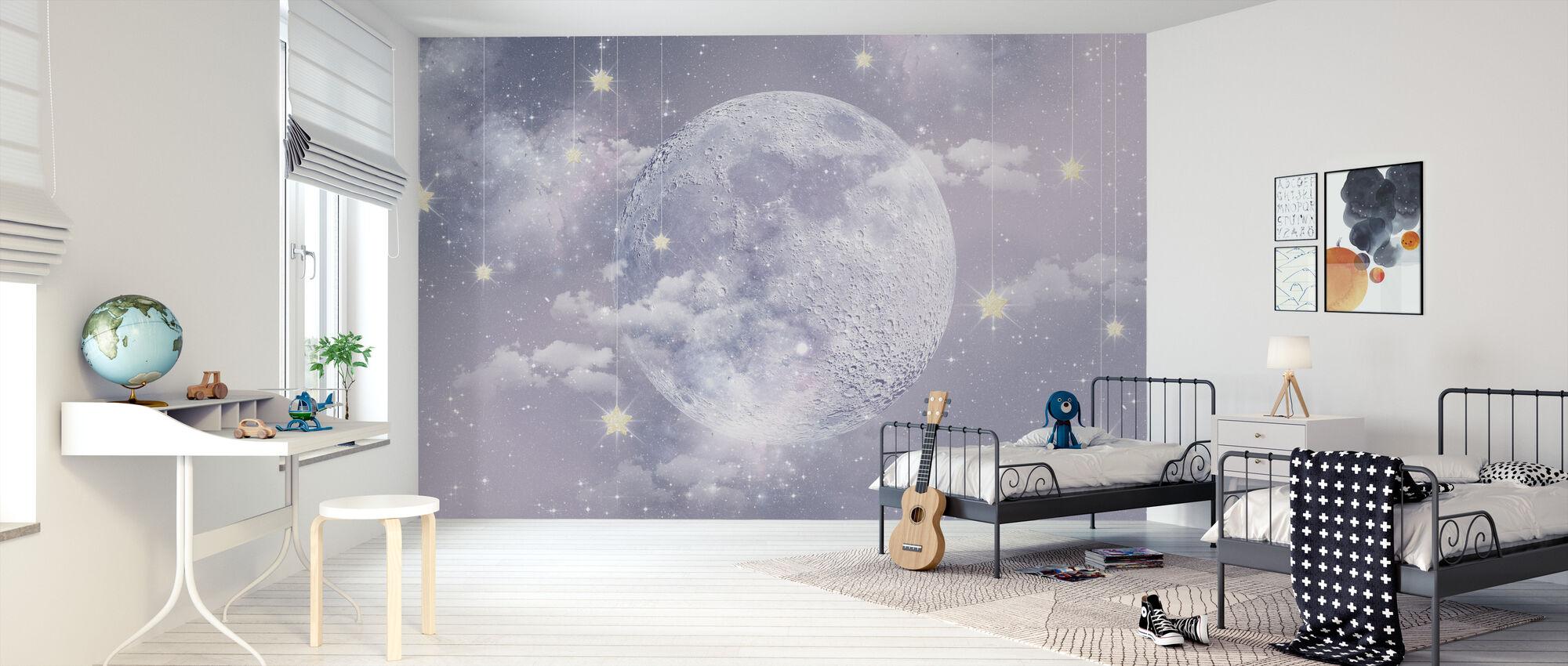 Maan met sterren - Behang - Kinderkamer