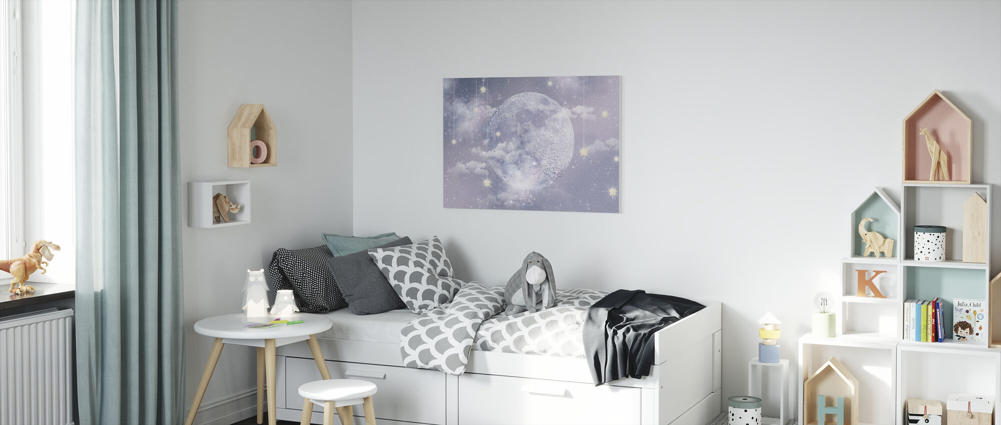 Månen med stjerner - Lerretsbilde - Barnerom
