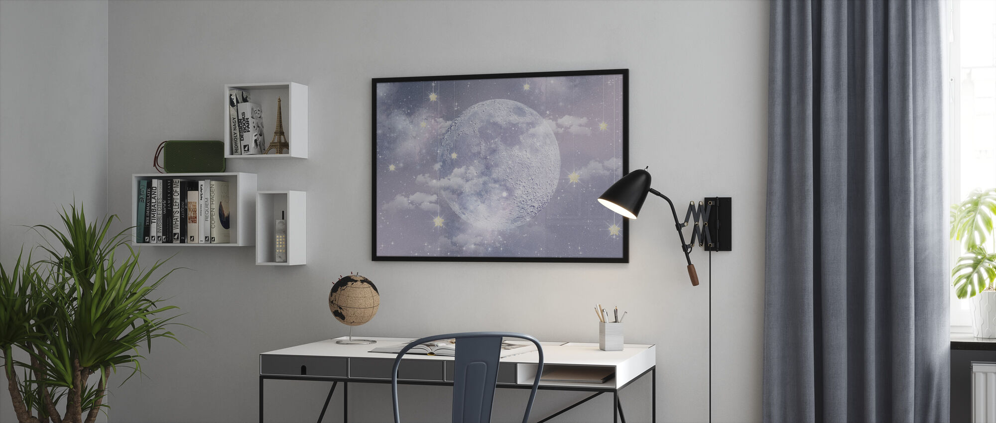 Moon with stars - Framed print - Office