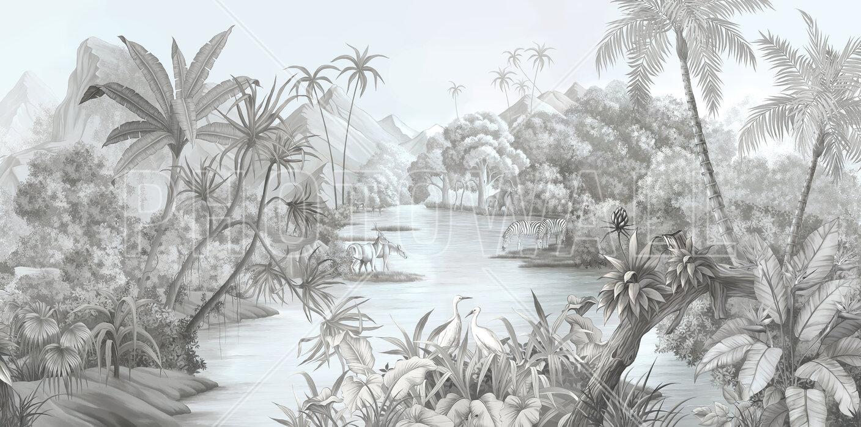 Tangled Jungle Ii Monochrome Affordable Wall Mural Photowall