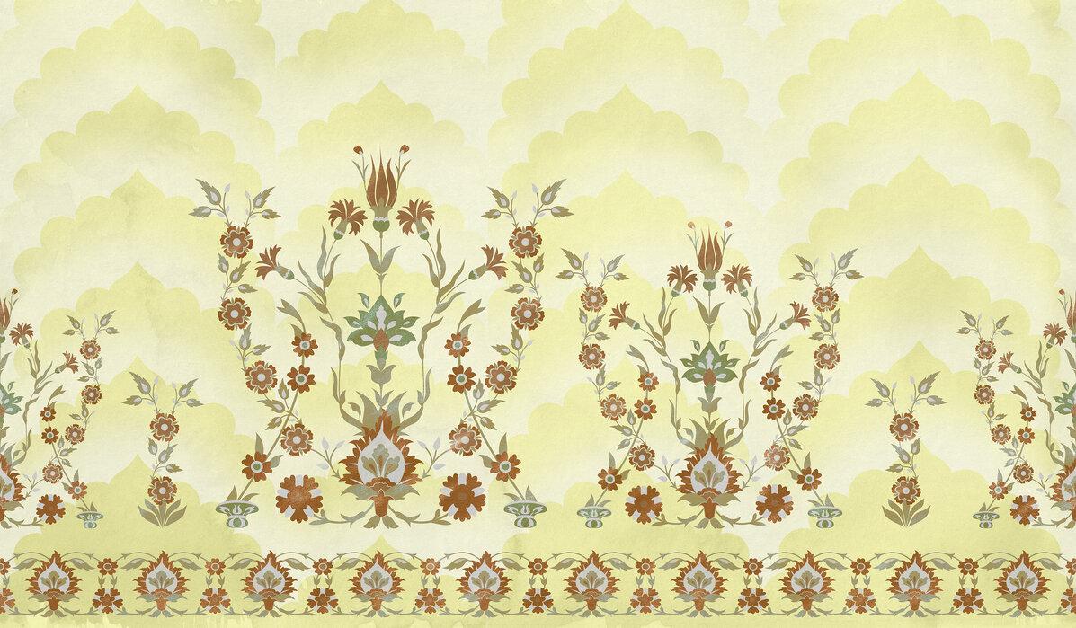 Turkish Flowers Yellow Trendy Wall Mural Photowall