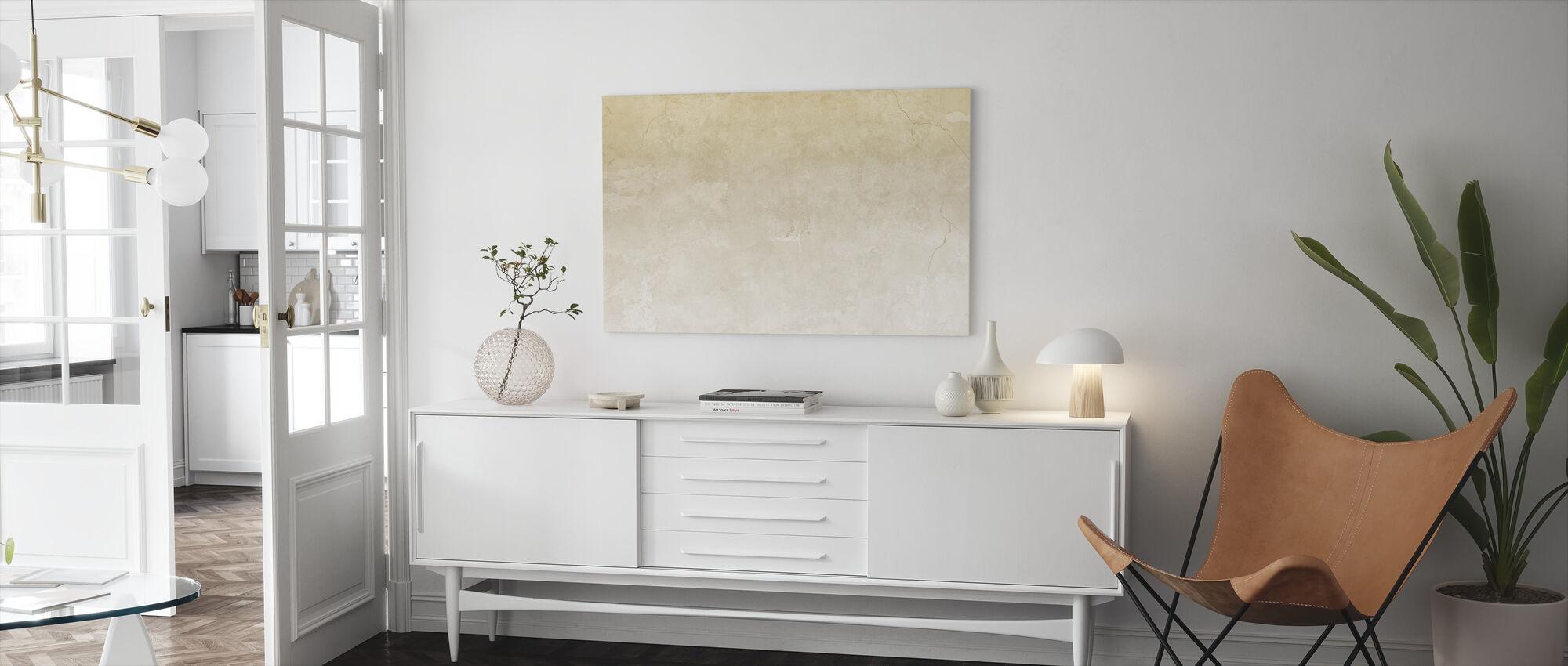 Beige gekleurde gebarsten muur - Canvas print - Woonkamer
