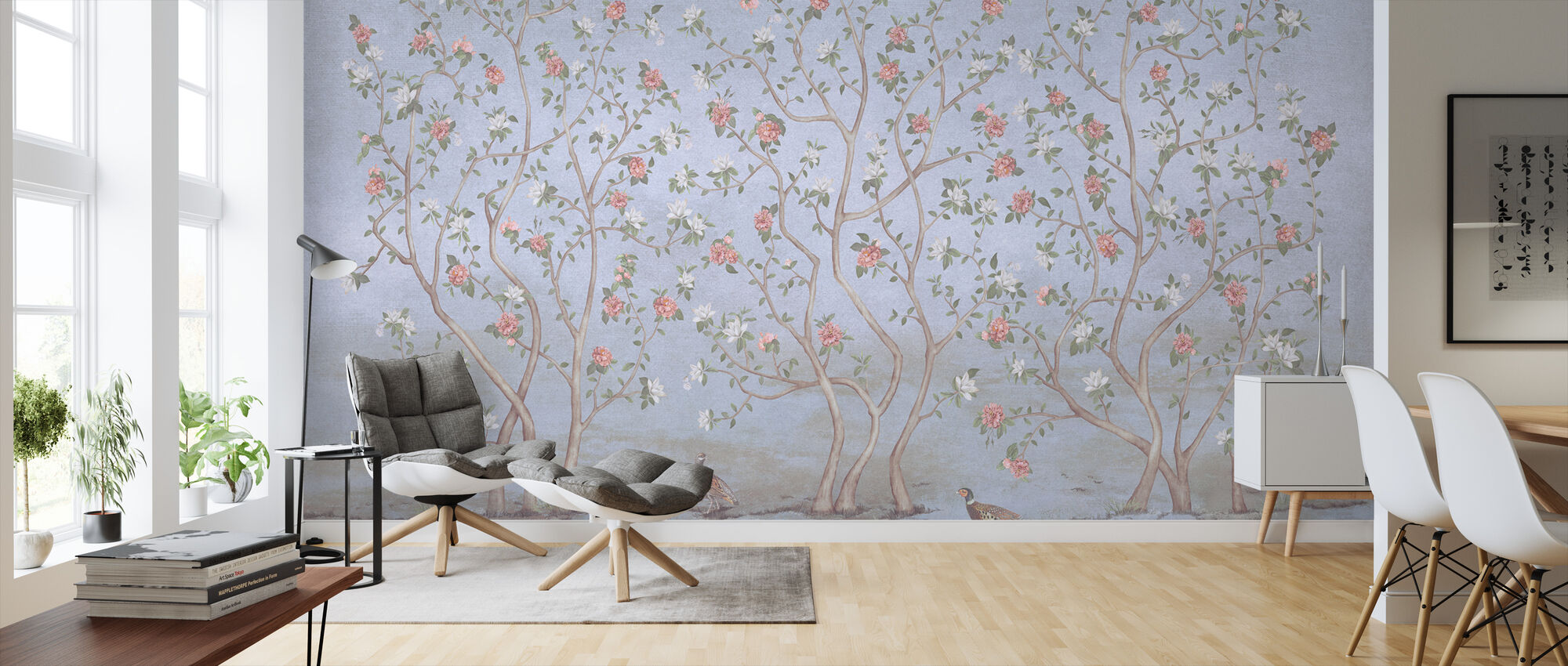 Trees Chinoiserie - Azure - Wallpaper - Living Room