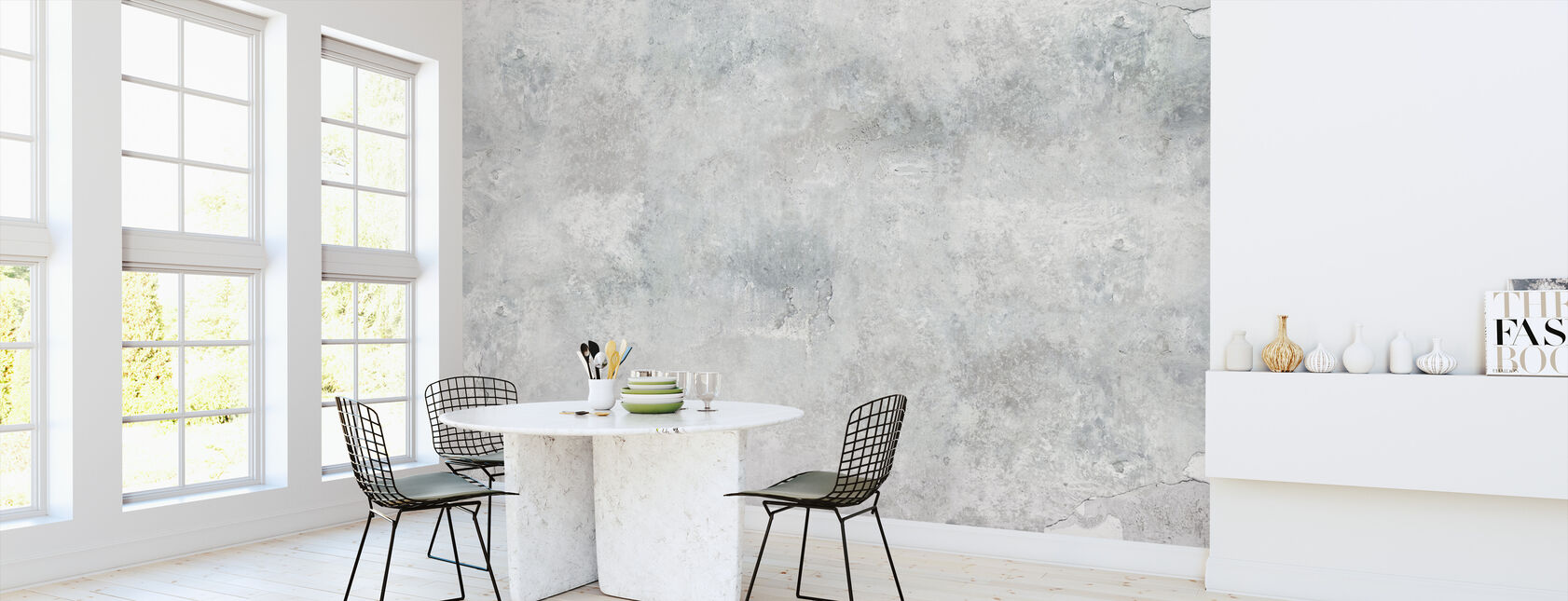 Torned Concrete Wall - Wallpaper - Kitchen
