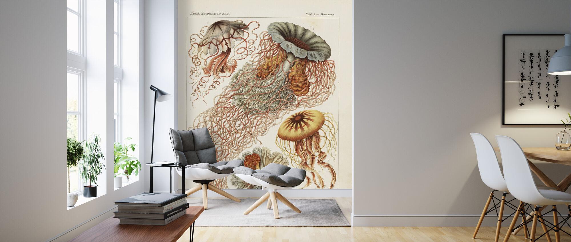 Jellyfish Art Print - Ernst Haeckel - Wallpaper - Living Room