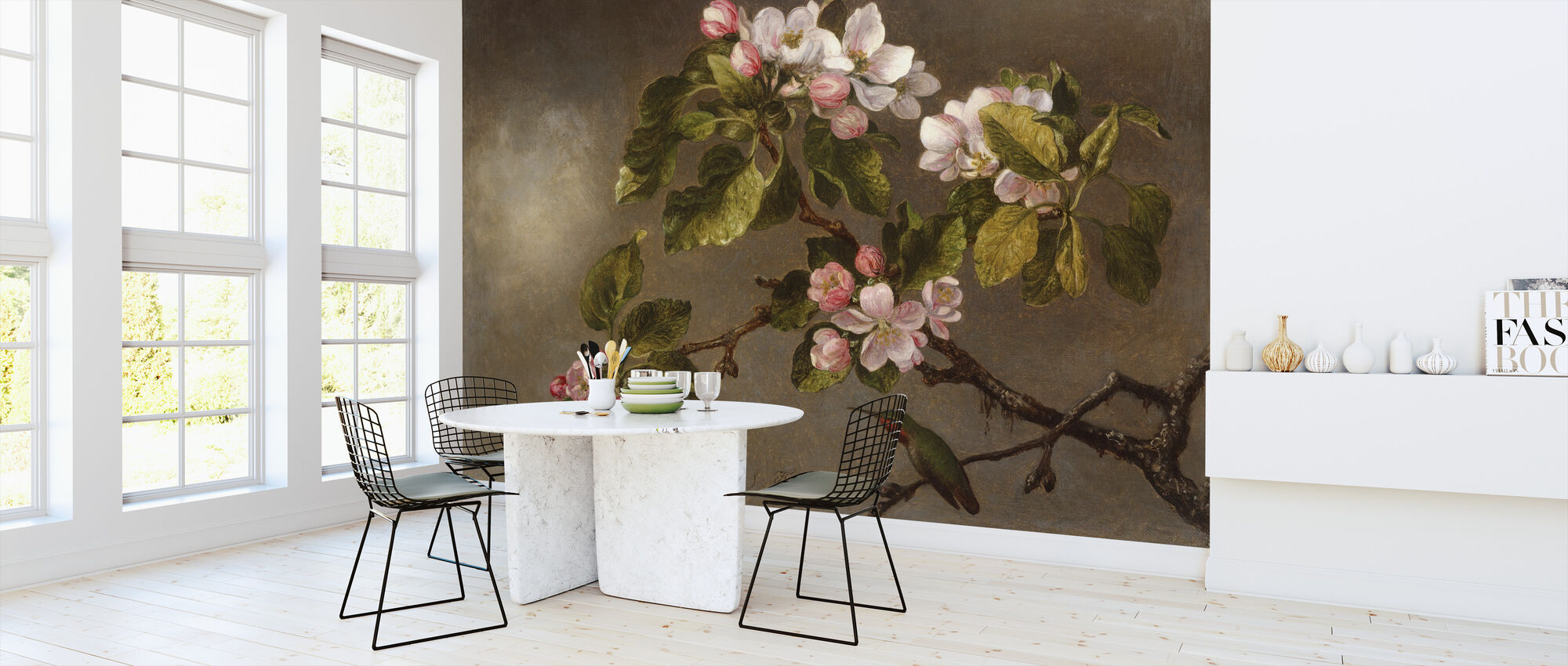 Hummingbird and Apple Blossoms - Martin Johnson Heade - Wallpaper - Kitchen