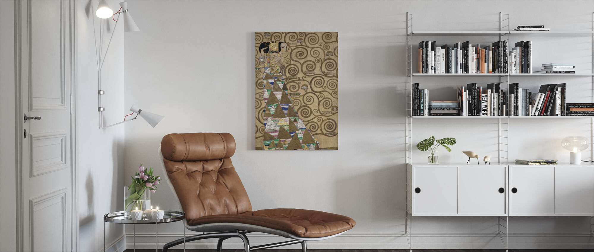Forventning - Gustav Klimt - Lerretsbilde - Stue