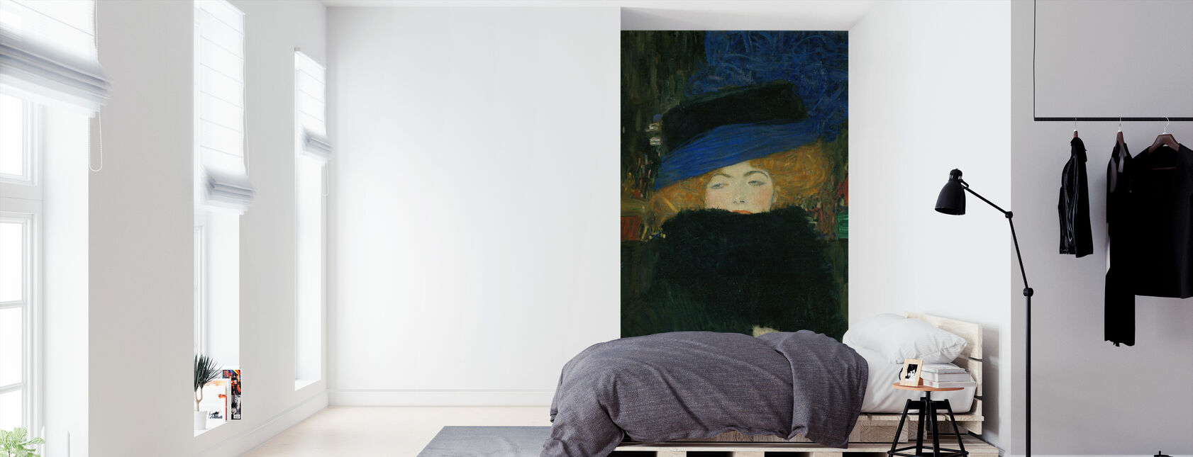 Lady with Hat and Feather Boa - Gustav Klimt - Wallpaper - Bedroom