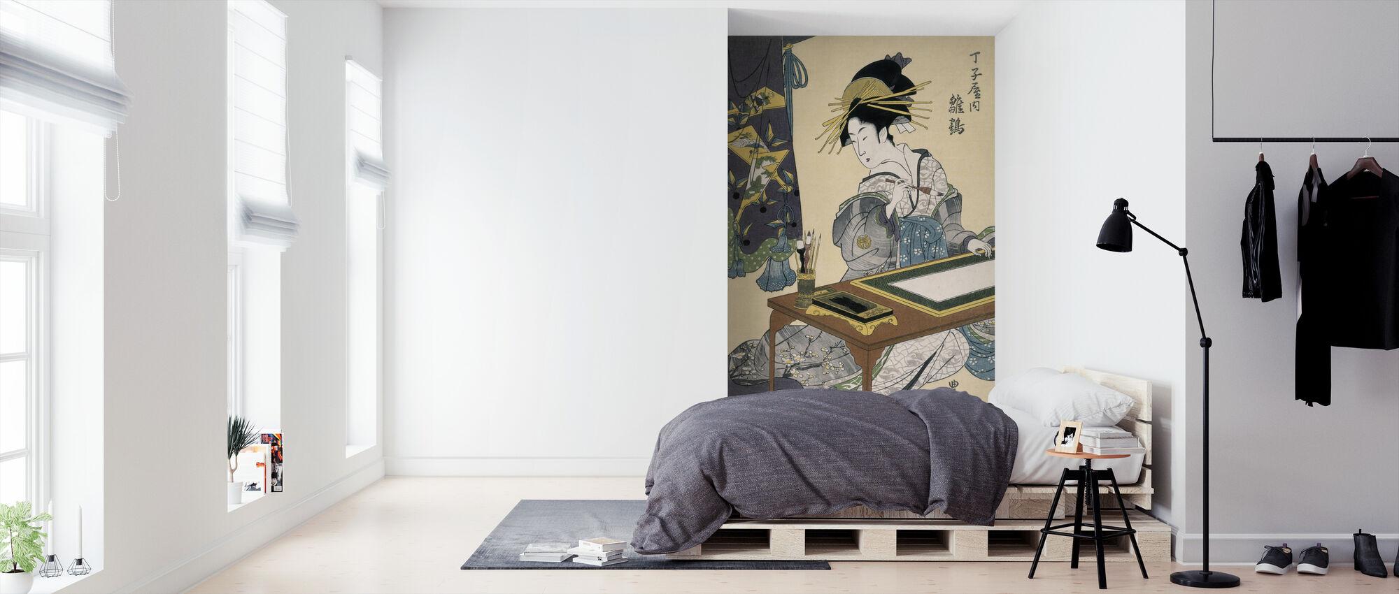 Cortesana Hinazuru - Utagawa Toyokuni - Wallpaper - Bedroom