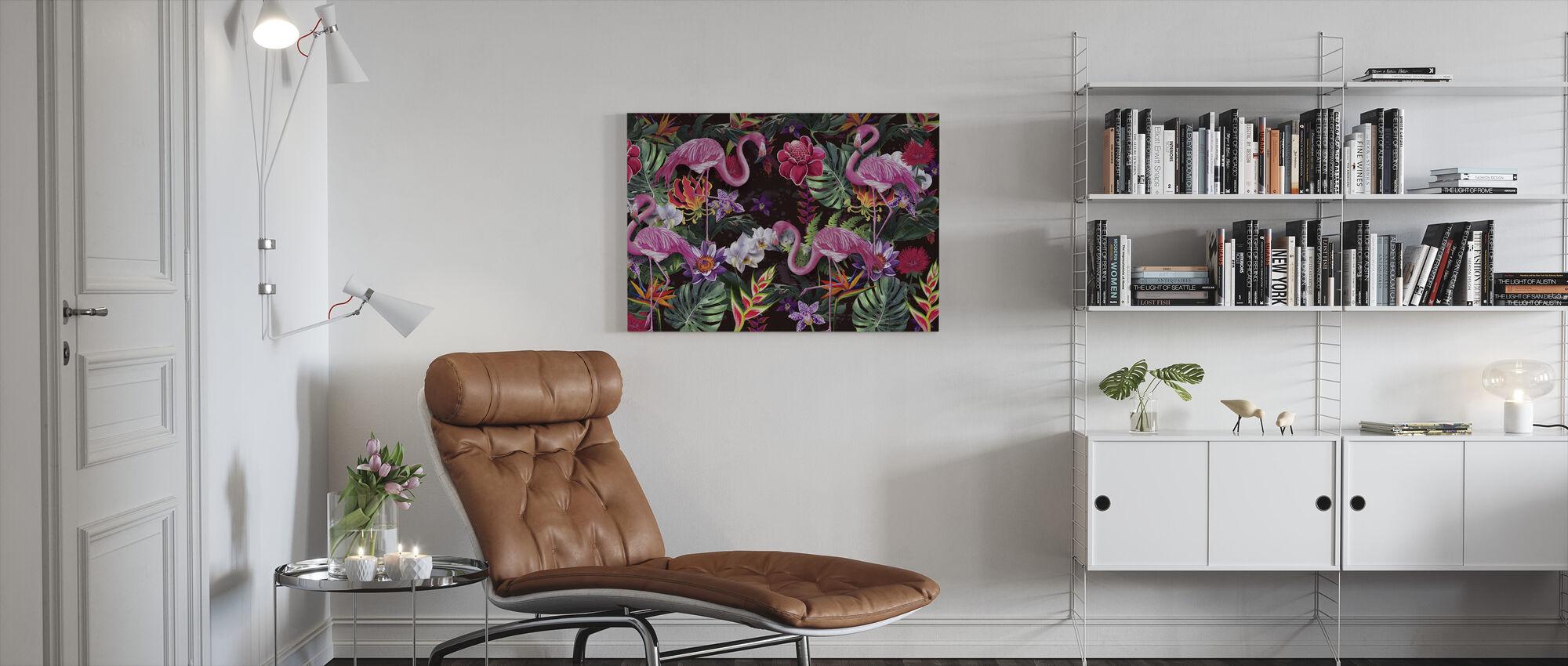 Rosa flamingoer - Lerretsbilde - Stue