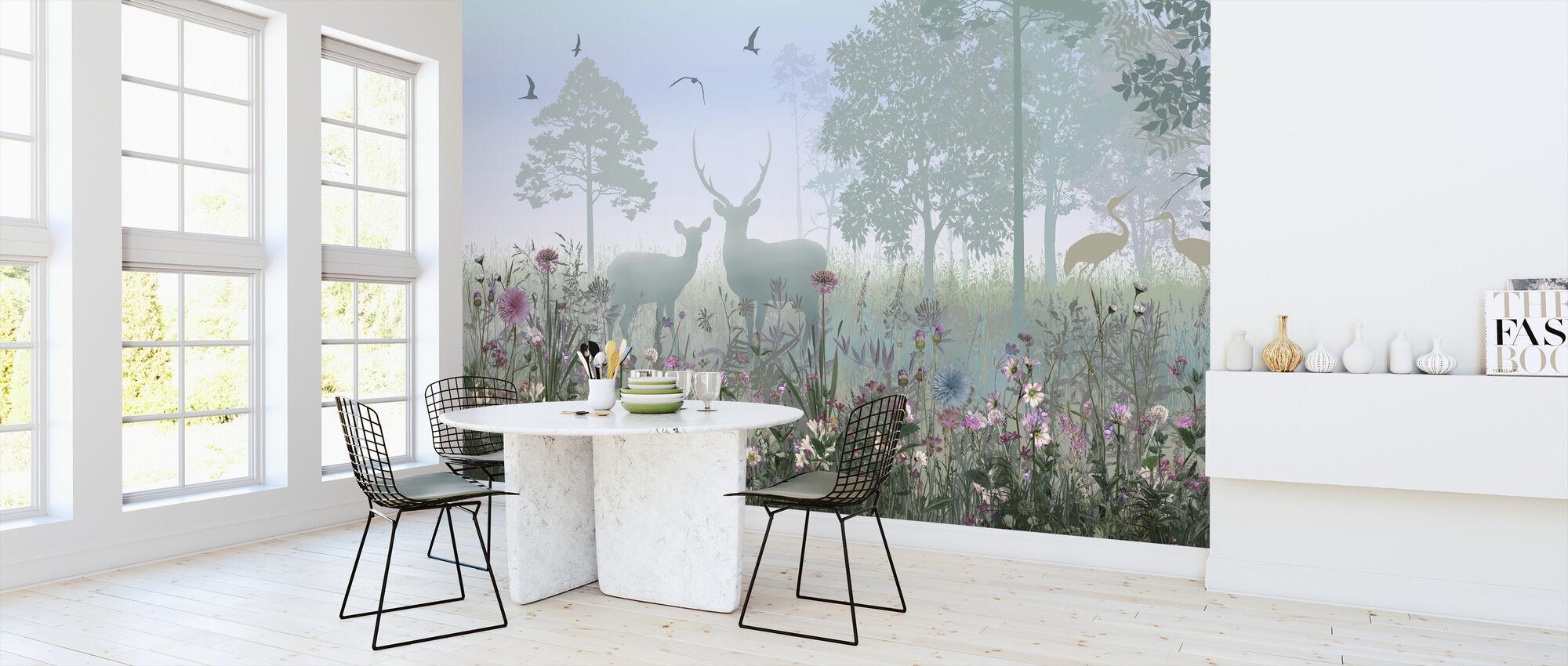 Animals in Hazy Forest - Wallpaper - Kitchen