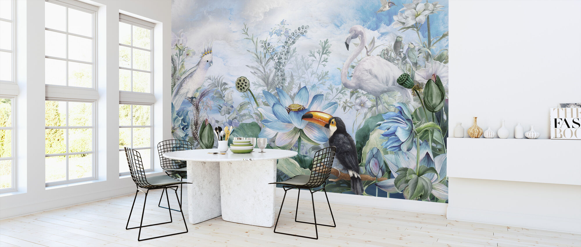 Birds in Blue Vegetation - Wallpaper - Kitchen