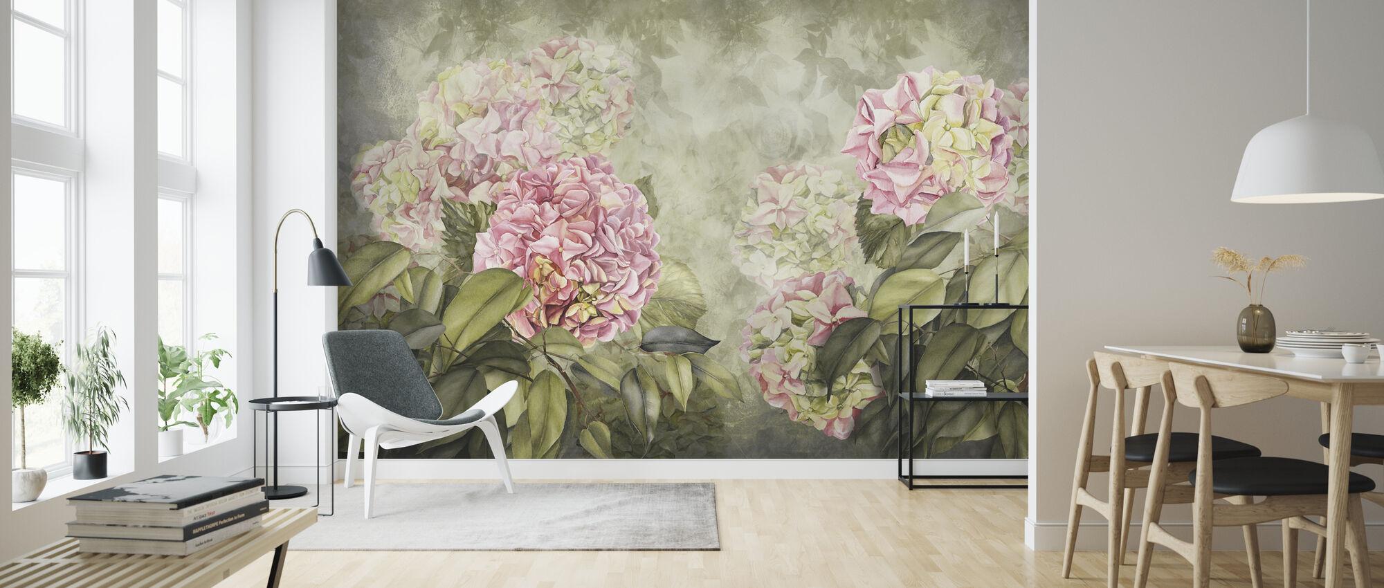 Pink Hortensia - Wallpaper - Living Room