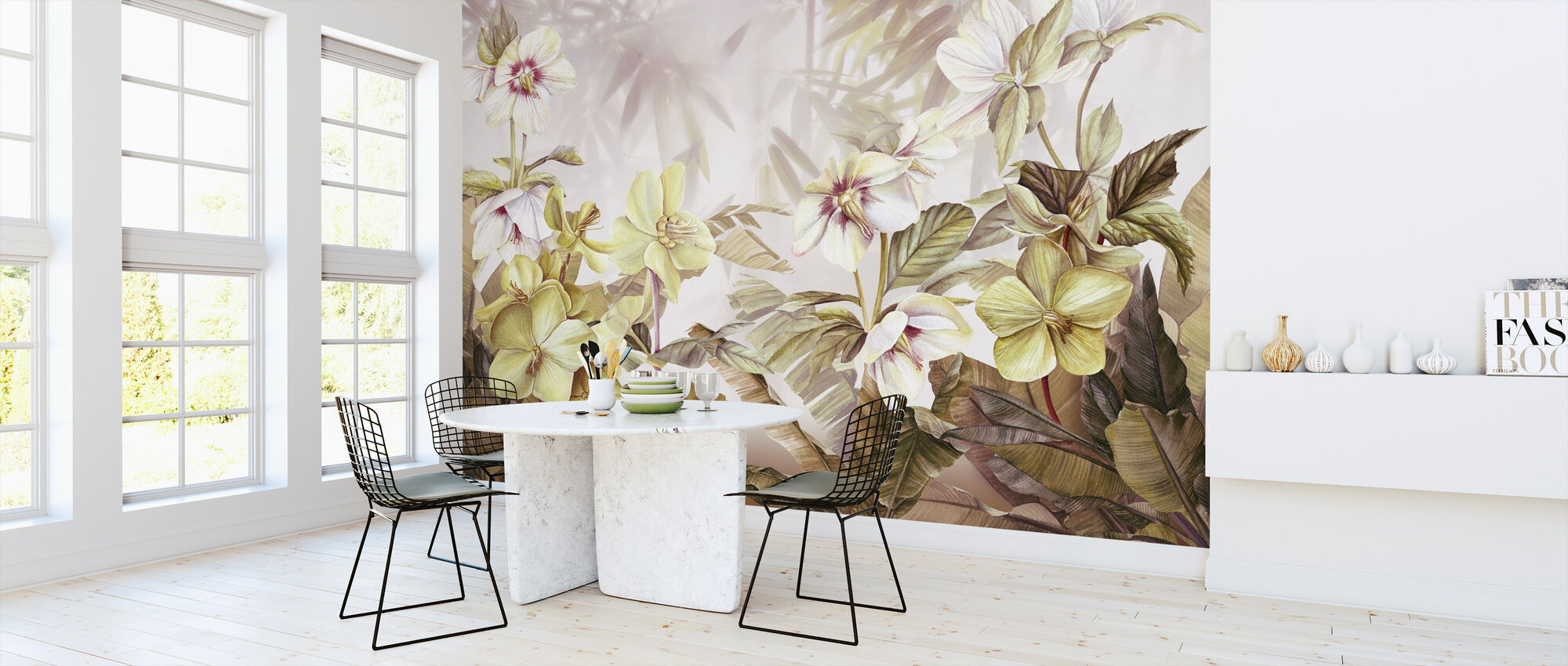 White and Yellow Lily FLowers - Wallpaper - Kitchen