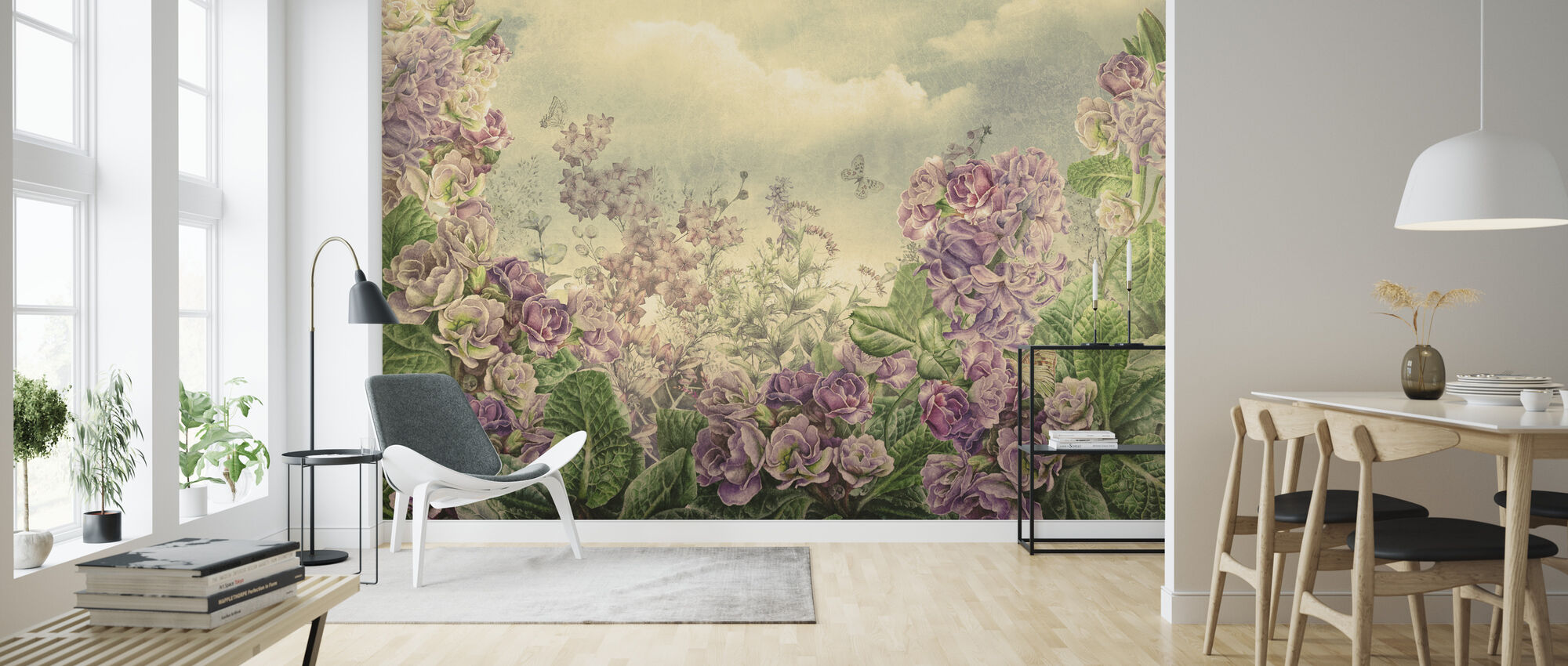 Pink and Purple Blossom - Wallpaper - Living Room