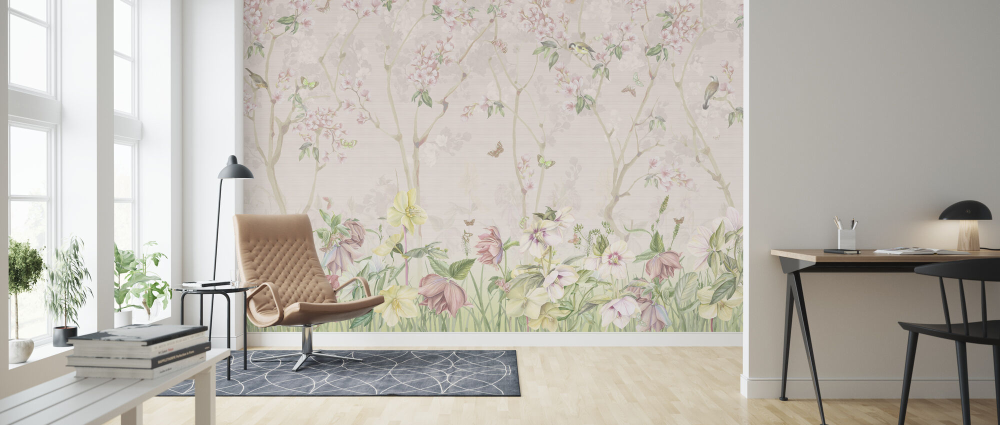 Pink Meadow - Wallpaper - Living Room
