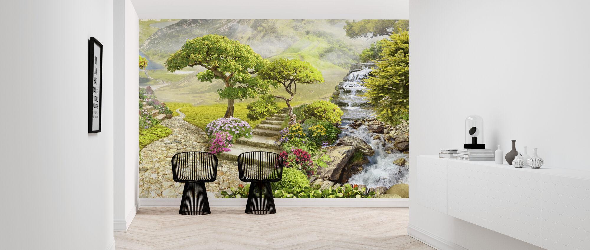 Waterfalls in Garden - Wallpaper - Hallway