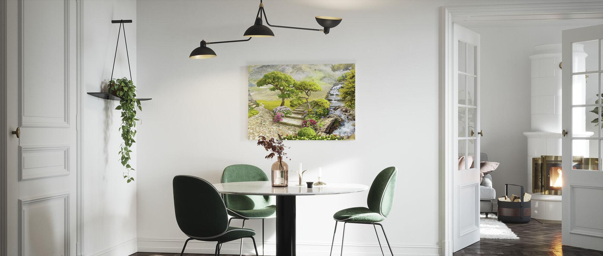 Watervallen in Tuin - Canvas print - Keuken