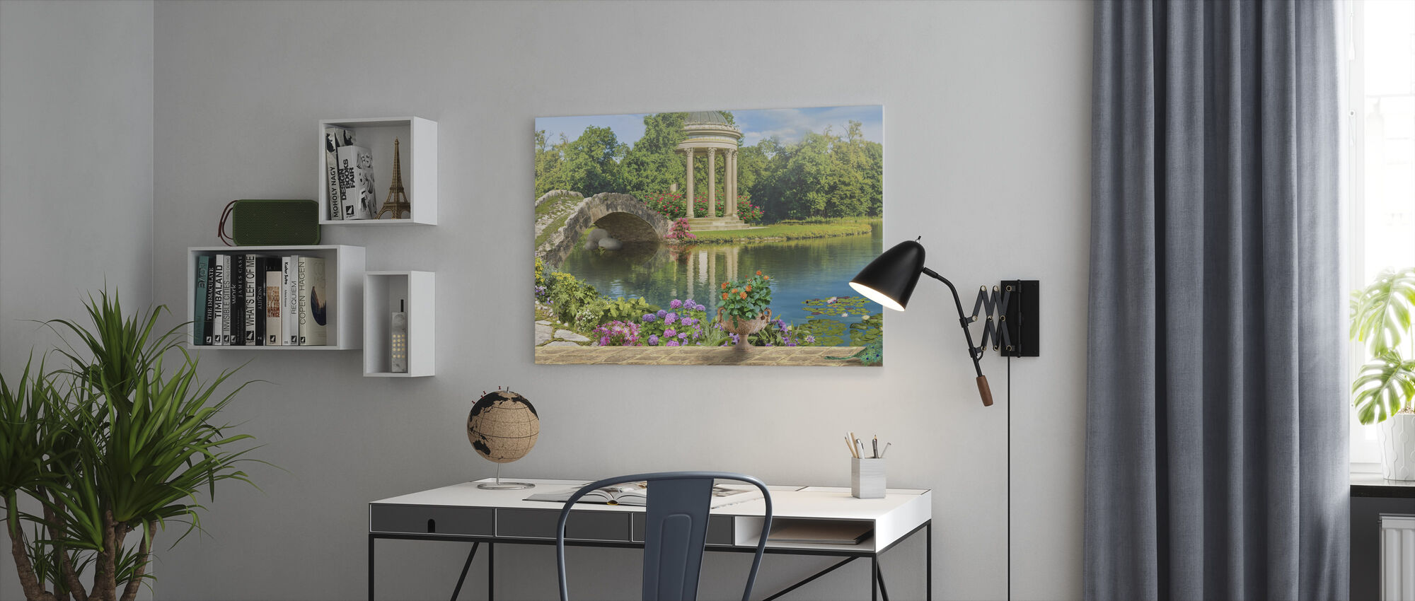 Swans in Pond - Canvas print - Office