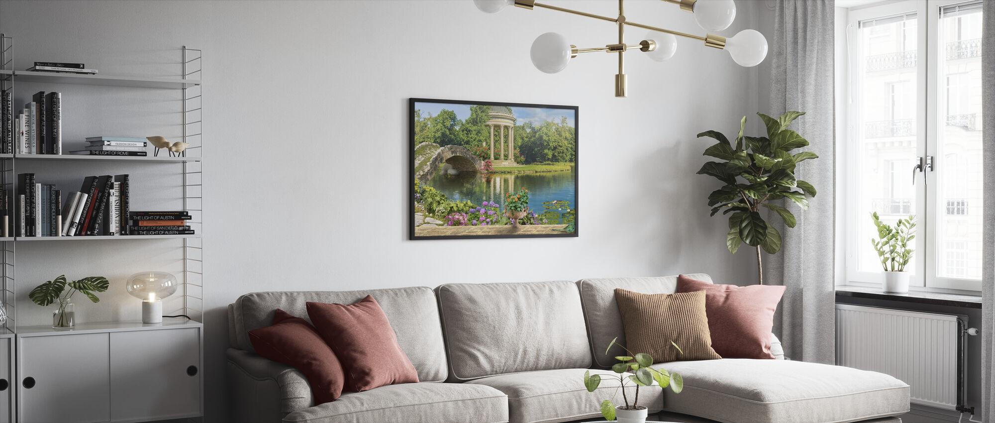 Swans in Pond - Framed print - Living Room