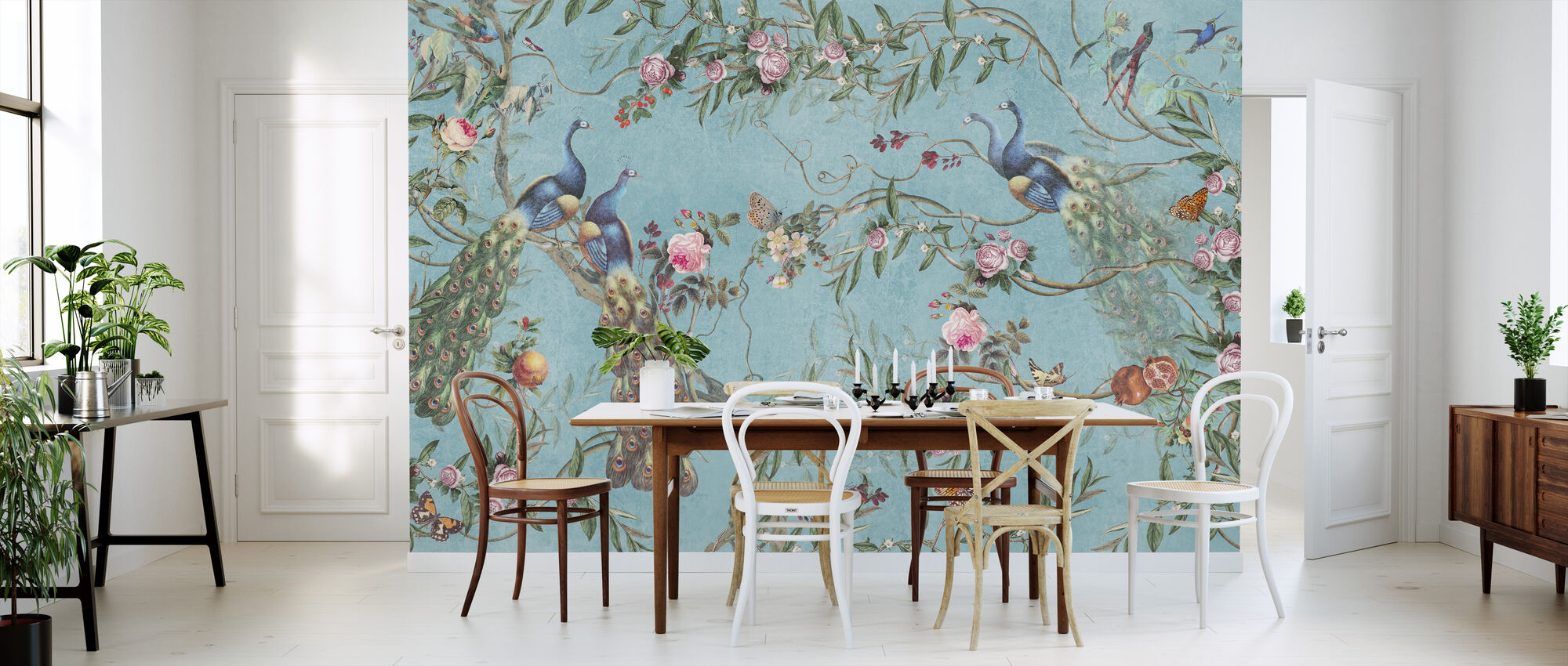 Peacocks and Flowers - Wallpaper - Kitchen