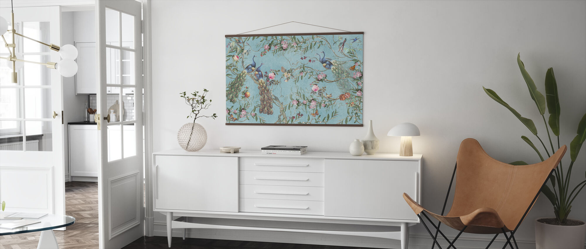 Peacocks and Flowers - Poster - Living Room