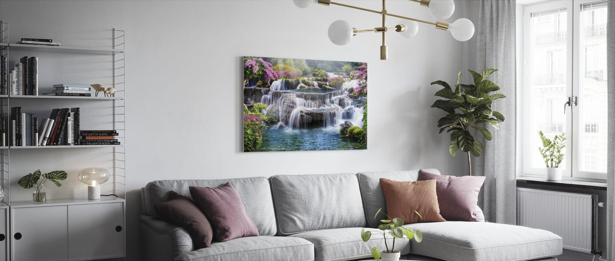 Tropische waterval - Canvas print - Woonkamer