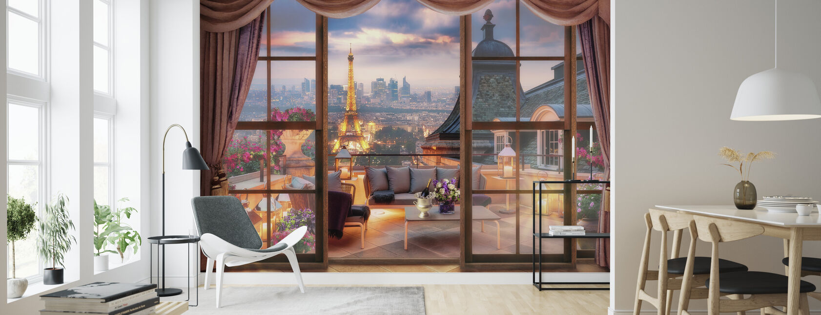 View over Paris - Wallpaper - Living Room