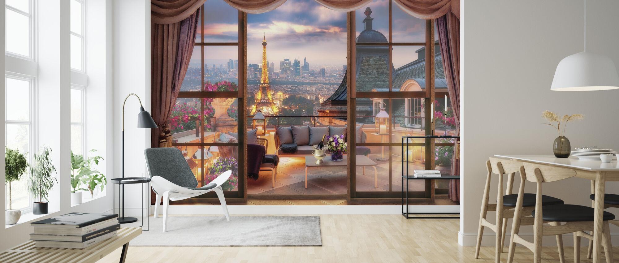 View over Paris - Wallpaper - Living Room
