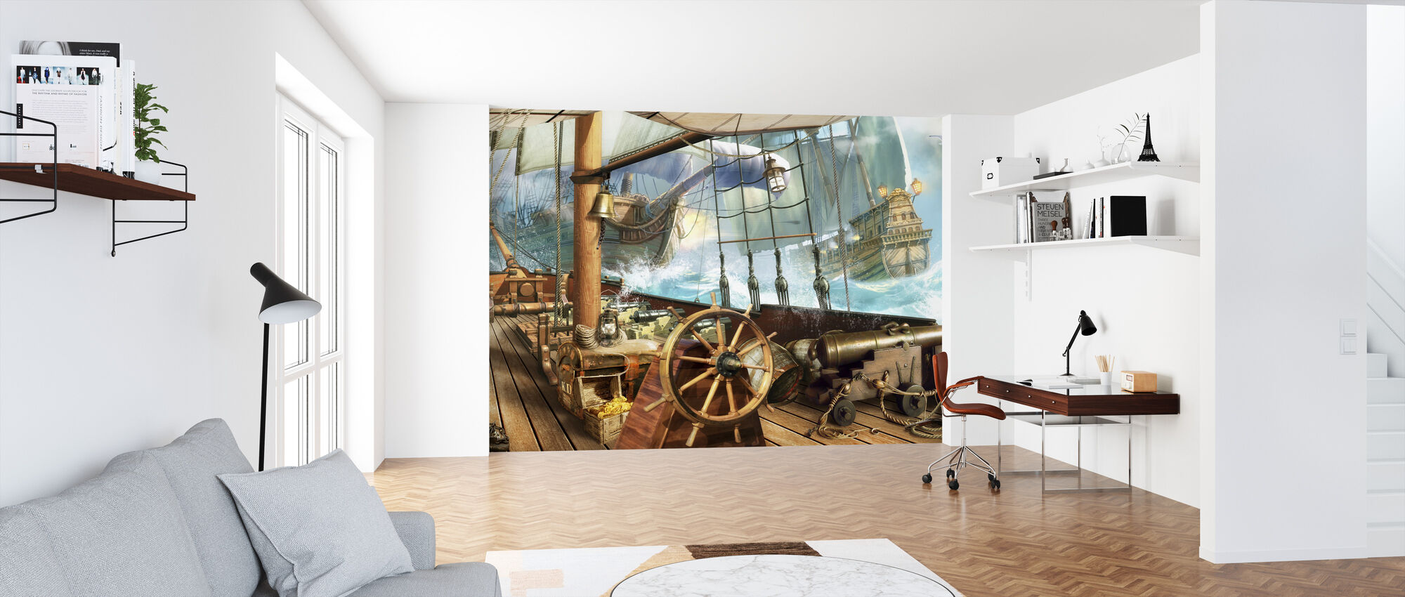 Ship on Stormy Sea - Wallpaper - Office