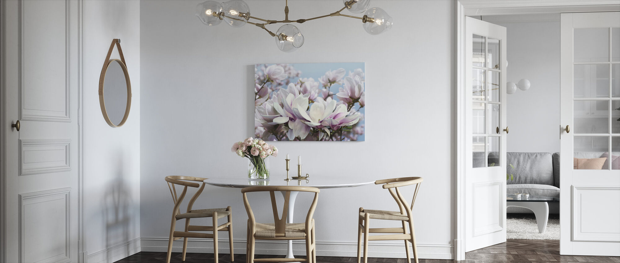 Pink Lily Flowers - Canvas print - Kitchen