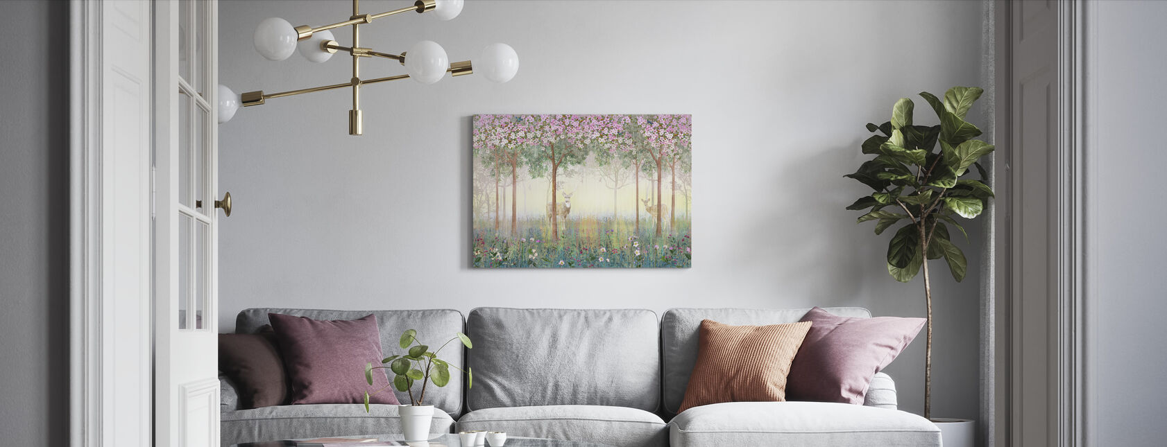 Deers in Dreamy Forest - Canvas print - Living Room