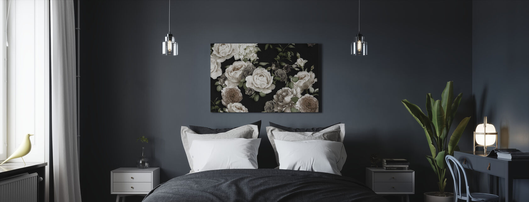 White Roses on Black Background - Canvas print - Bedroom