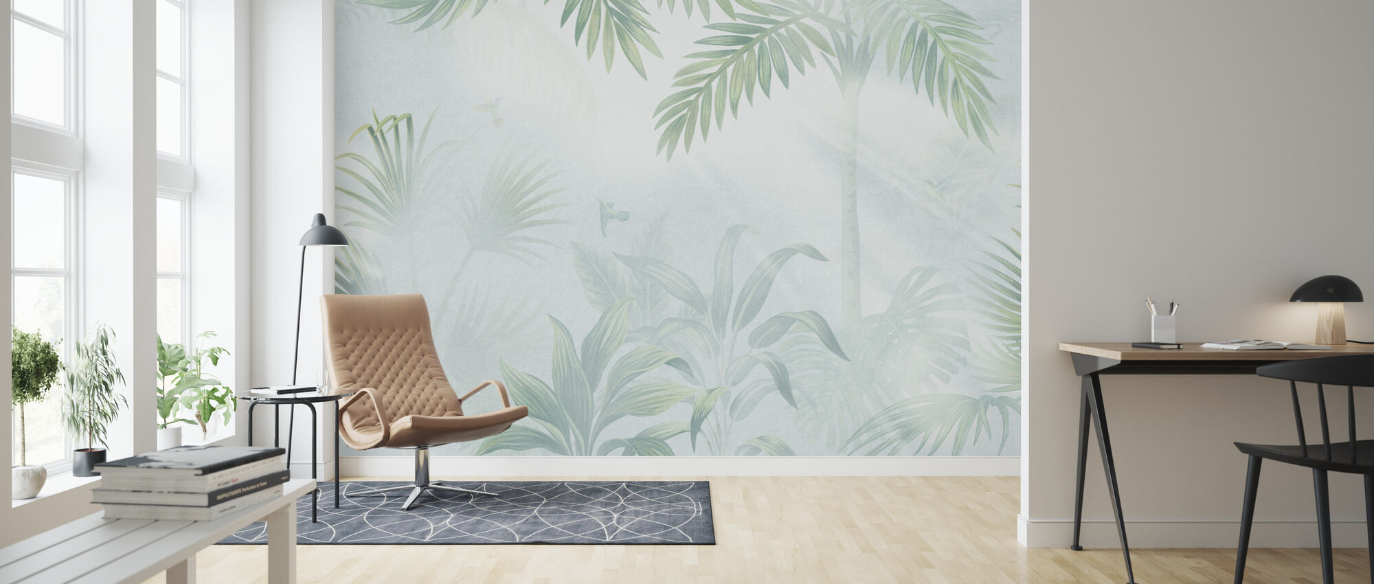 Foggy Jungle - Leafy - Wallpaper - Living Room