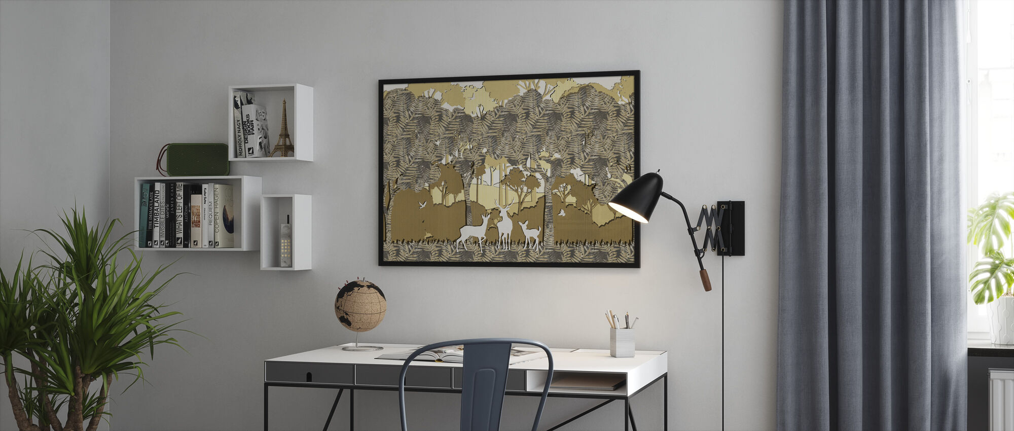 Papyromania Forest - Amber - Framed print - Office