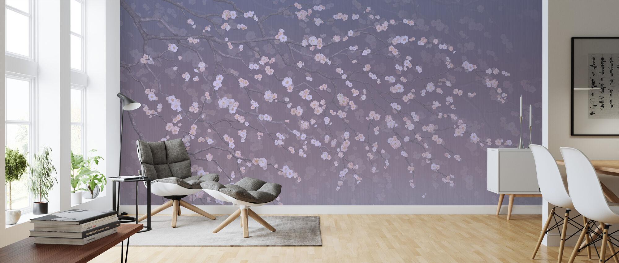 Sakura - Purplish - Wallpaper - Living Room