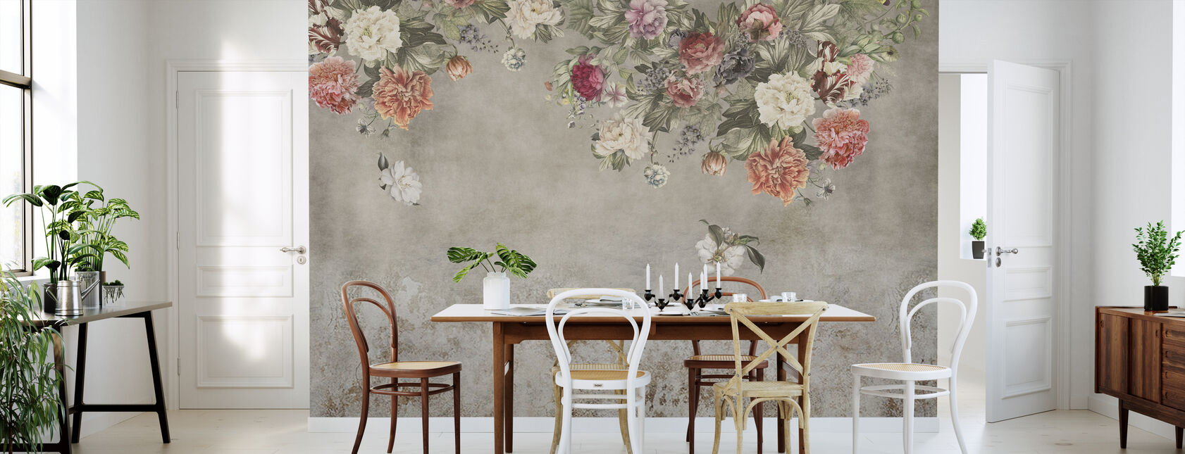 Vintage Flower Wall - Wallpaper - Kitchen